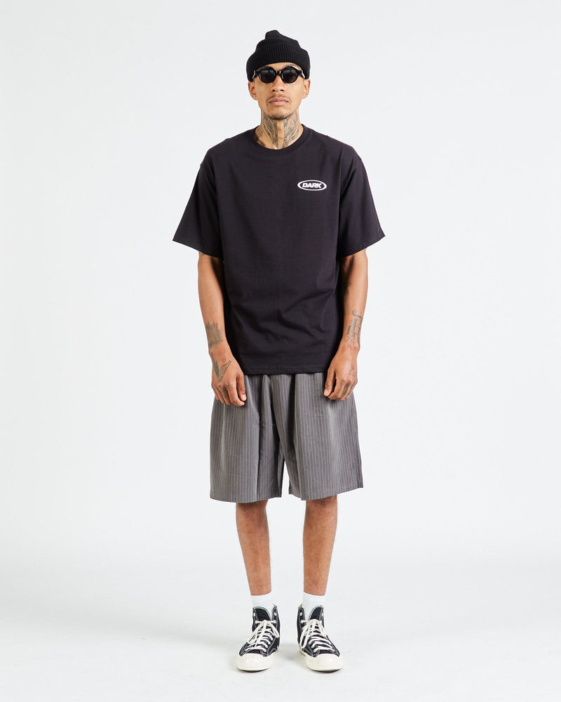 Neue Line Tailored Shorts - Grey / White Pinstripe T-shirt DARKCIRCLE®