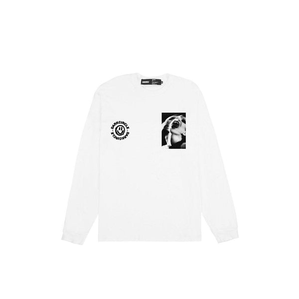 Screaming - White Long Sleeve T-Shirt T-shirt Dark Circle Clothing