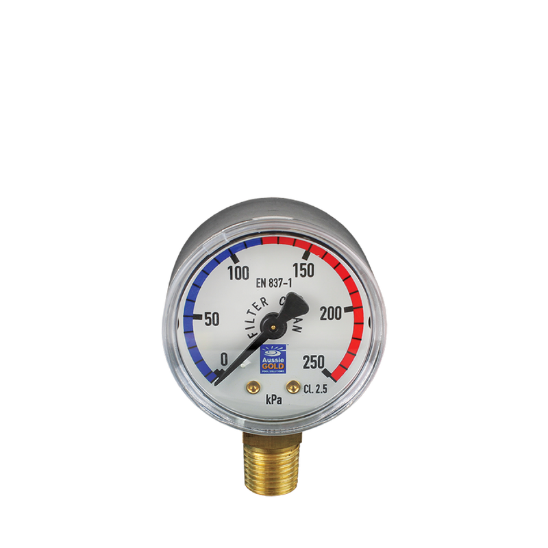 Pool Accessories, Filter Pressure Gauge - Lower Mount - Stainless Steel