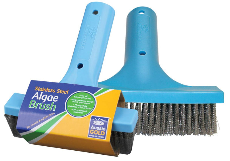 "Pool Accessories, Aussie Gold	Stainless Steel Algae Brush. Effectively removes algae with 6"" Stainless steel bristles."