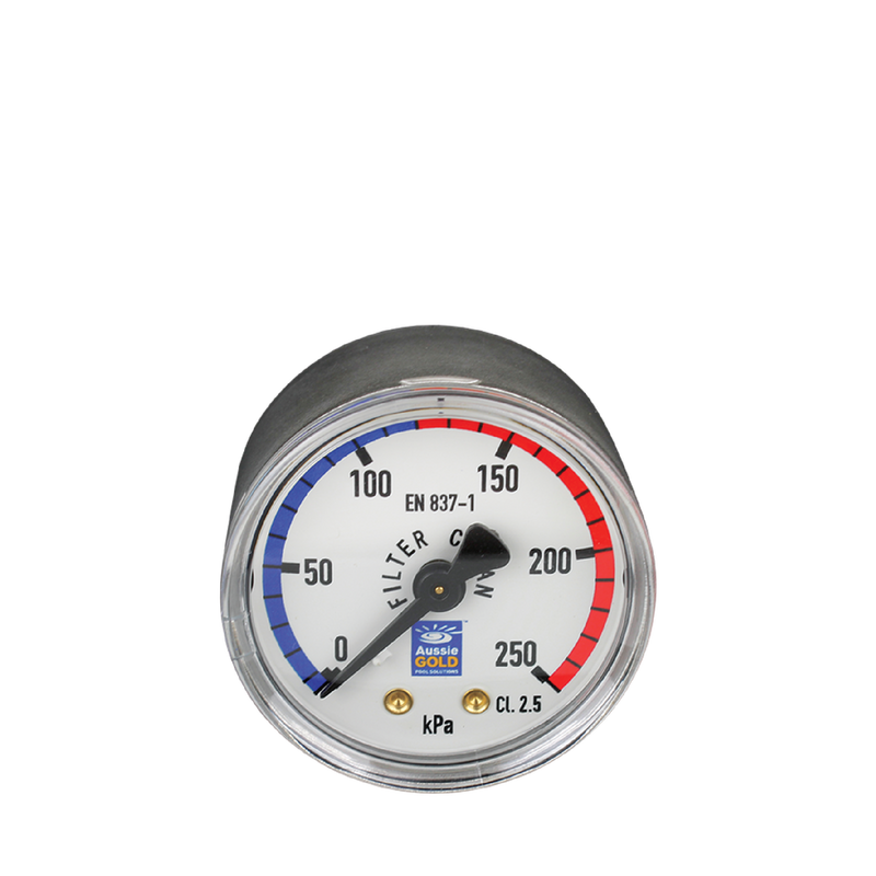 Pool Accessories, Pressure Gauge - Centre Back Mount - Stainless Steel