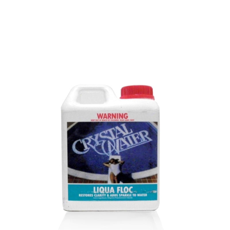 Pool Chemicals, Crystal Water	Liqua Floc 1L. Removes finely suspended particles from cloudy murky water that the filter cannot normally clean.