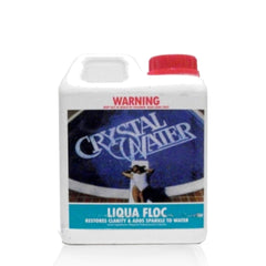 Pool Chemicals, Crystal Water	Liqua Floc 5L. Removes finely suspended particles from cloudy murky water that the filter cannot normally clean.