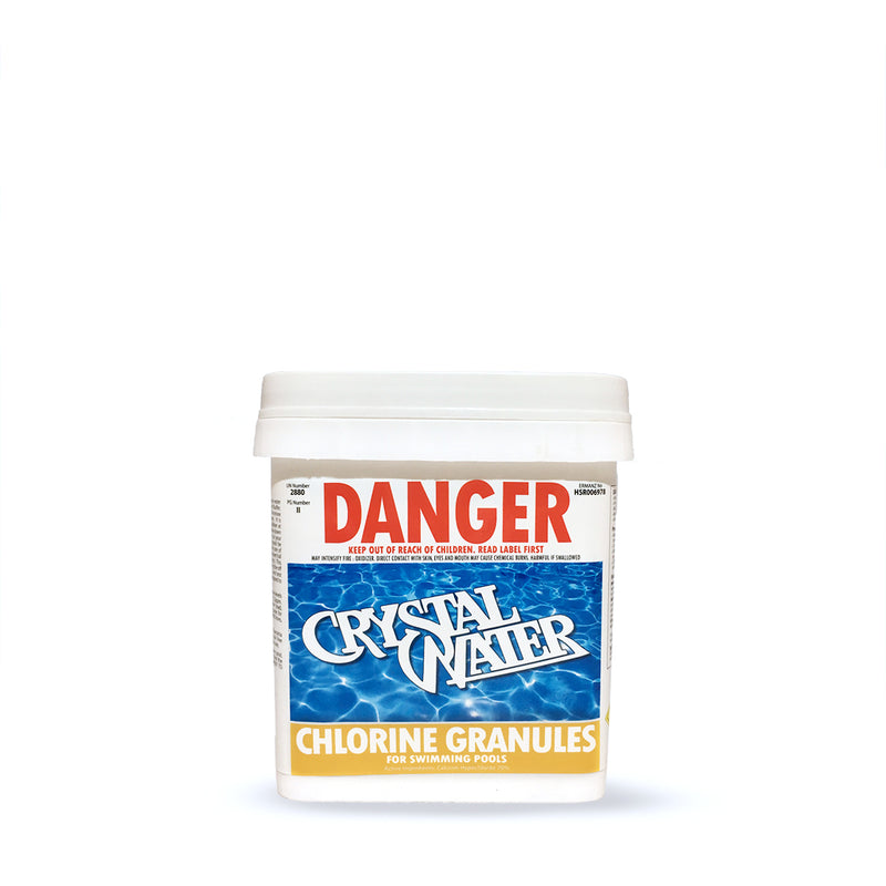 Pool Chemicals, Crystal Water	Chlorine Granules 4KG. Chlorine Granules maintain the health of your pool and keep it clean by destroying and preventing algae/bacteria growth in pool water.
