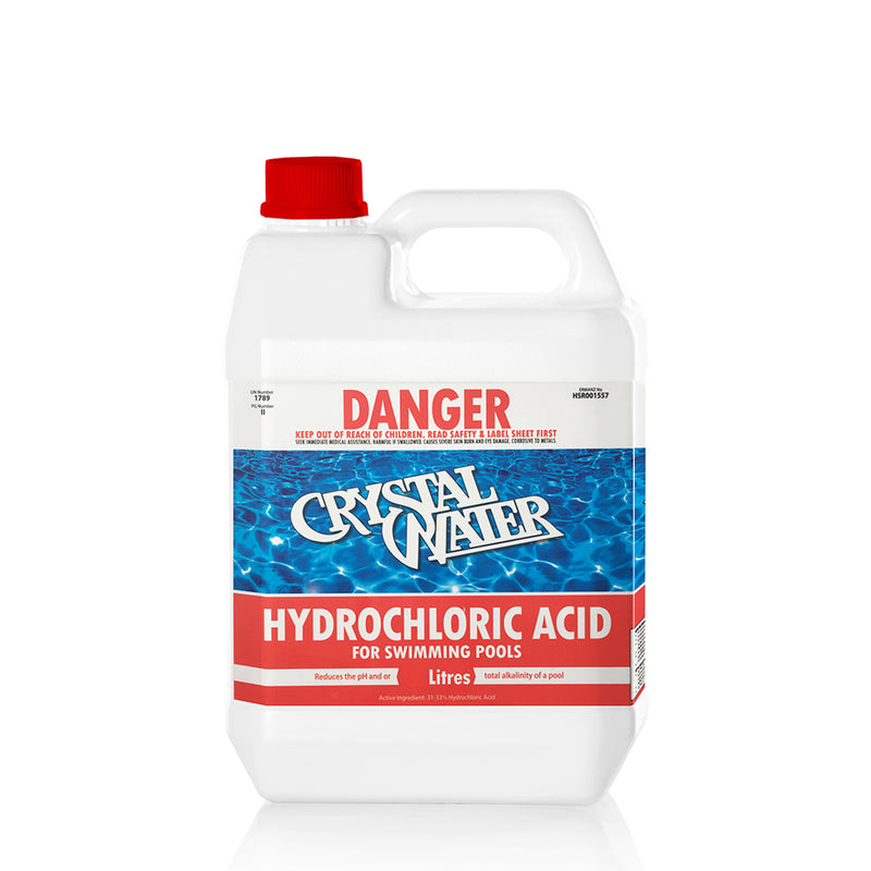 Hydrochloric Acid 5 L Used to lower the ph in swimming pools. Also lowers total alkalinity.