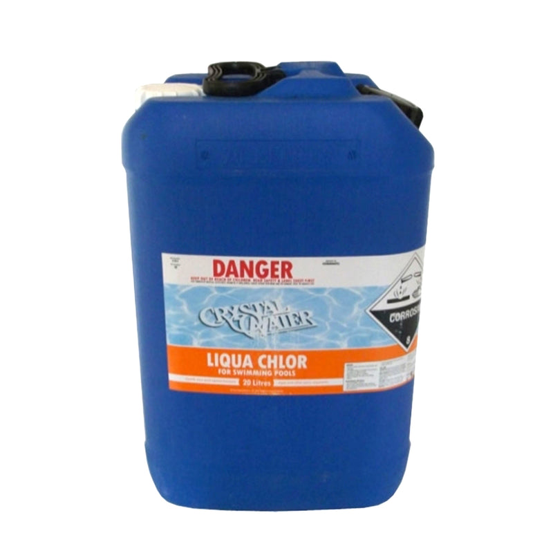 Pool Chemicals, Crystal Water	Liquid Chlorine 10L. Liquid chlorine maintains the health of your pool and keeps it clean by destroying and preventing algae/bacteria growth in pool water.