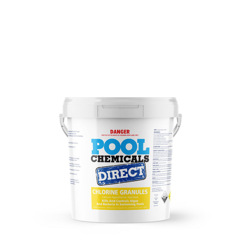 Pool Chemicals, Pool Chemicals Direct Chlorine Granules 10KG. Chlorine Granules maintain the health of your pool and keep it clean by destroying and preventing algae/bacteria growth in pool water.