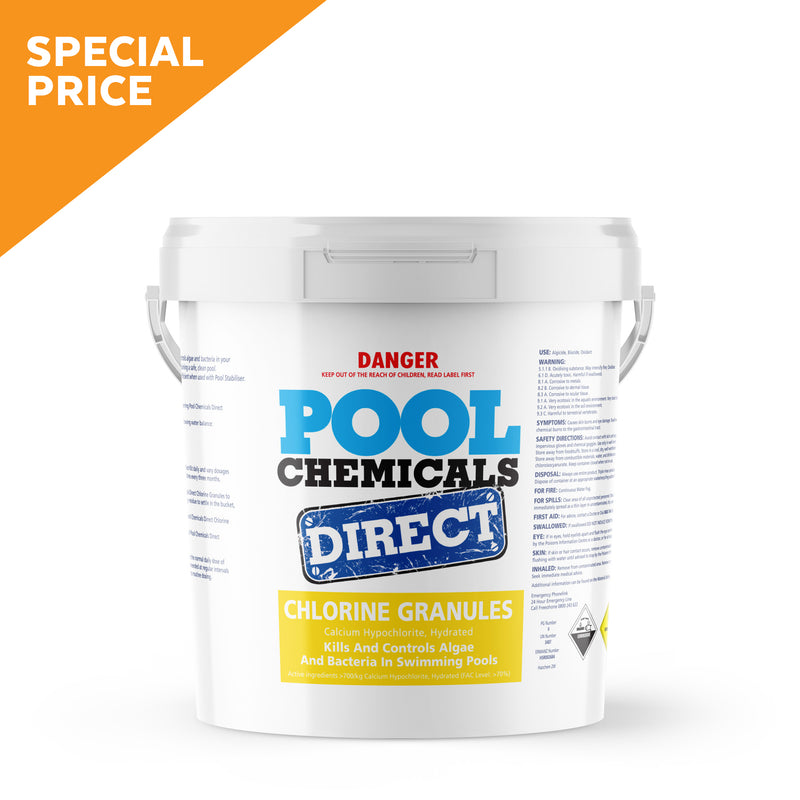 Pool Chemicals, Pool Chemicals Direct Chlorine Granules 20KG. Chlorine Granules maintain the health of your pool and keep it clean by destroying and preventing algae/bacteria growth in pool water.