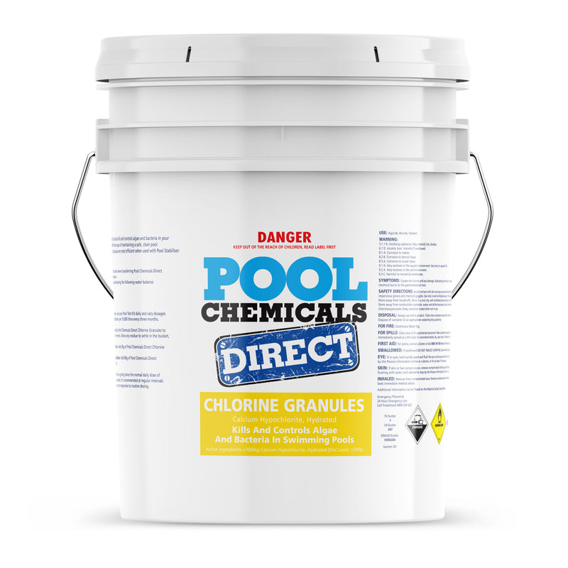 Pool Chemicals, Pool Chemicals Direct Chlorine Granules 40KG. Chlorine Granules maintain the health of your pool and keep it clean by destroying and preventing algae/bacteria growth in pool water.