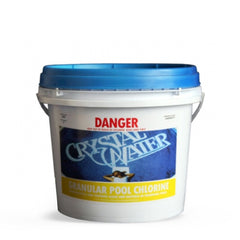 Pool Chemicals, Crystal Water	Chlorine Granules 10KG. Chlorine Granules maintain the health of your pool and keep it clean by destroying and preventing algae/bacteria growth in pool water.