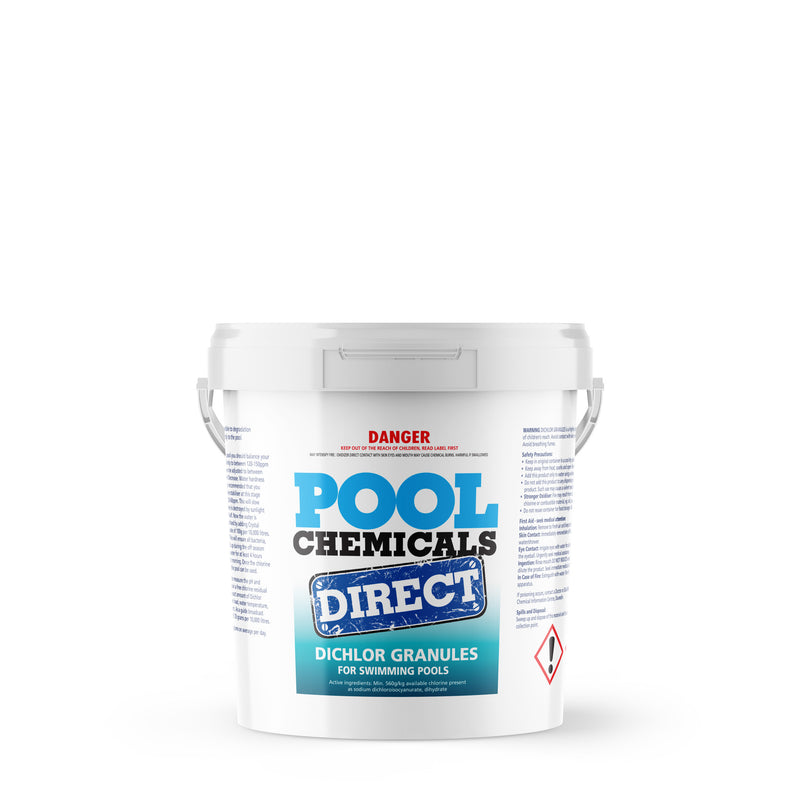 Pool Chemicals, Crystal Water	Pool Dichlor 5KG. Used as a disinfectant, sanitiser, biocide, fungicide and algaecide for pools.