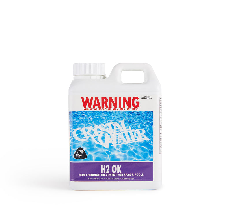 Pool Chemicals, Crystal Water	H2 OK. Non chlorine treatment for pools and spas.