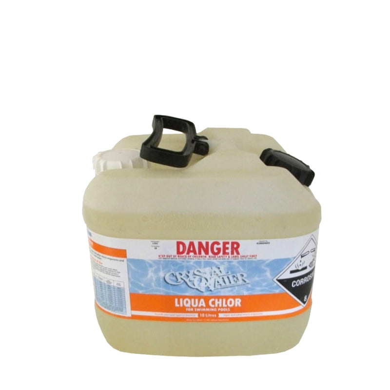 Pool Chemicals, Crystal Water	Liquid Chlorine 50L. Liquid chlorine maintains the health of your pool and keeps it clean by destroying and preventing algae/bacteria growth in pool water.