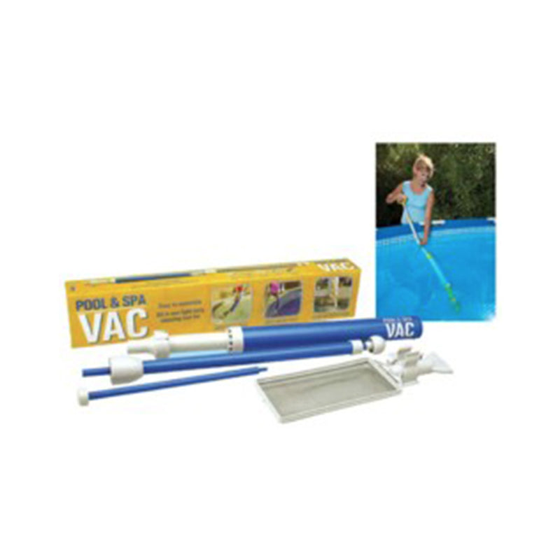 Pool and Spa Vac. All in one cleaning tool creates suction that draws in water and debris from pool or spa.