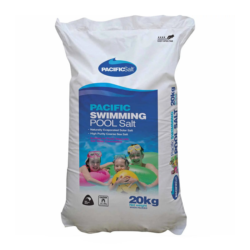 Pool Chemicals, Pacific Salt Pool Salt Bag 20KG. High purity sea salt specially refined for swimming pools fitted with salt water chlorinators.