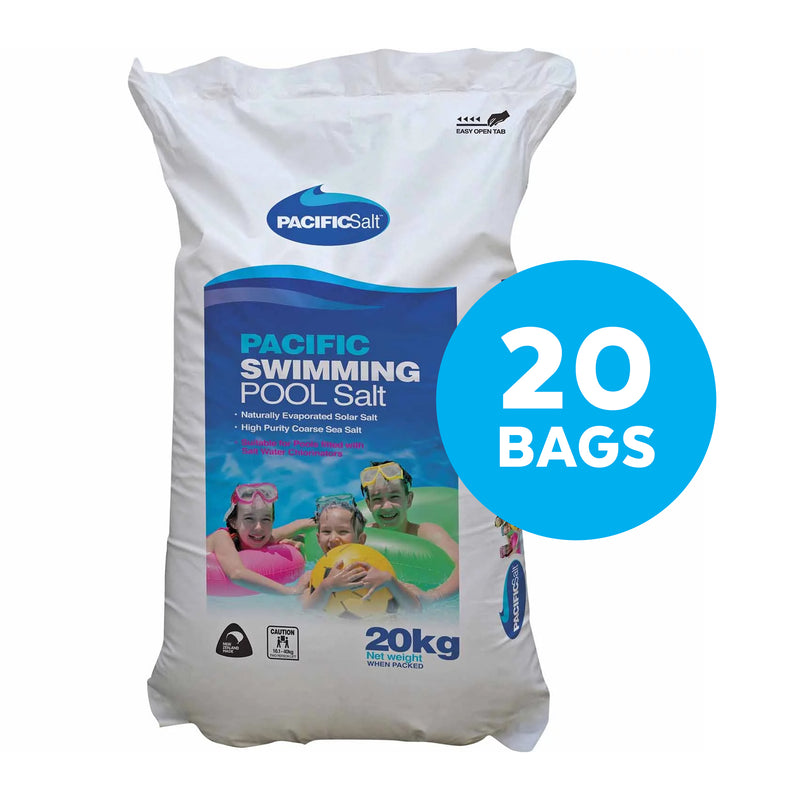 Pool Chemicals, Pacific Salt Pool Salt Bag 20KG  x 10. High purity sea salt specially refined for swimming pools fitted with salt water chlorinators.