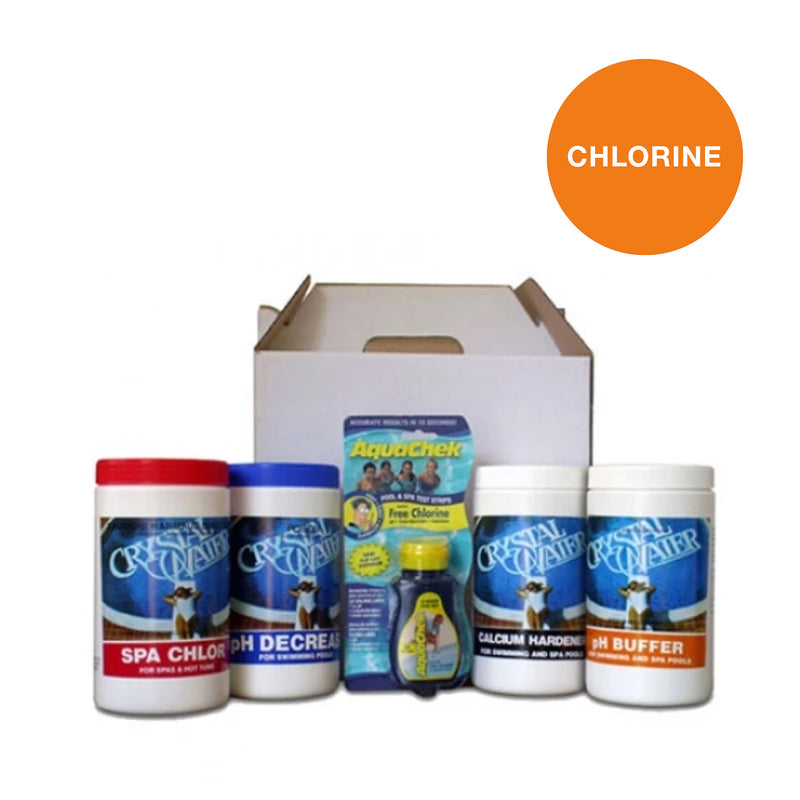 Pool Chemicals, Crystal Water	Spa Startup Kit Chlorine. Start up kit is designed for easy convenience with all the products in one box for your initial spa treatment.