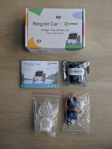 Packaged components from the microbit Ring Bit Car Kit on GetHacking Online Store