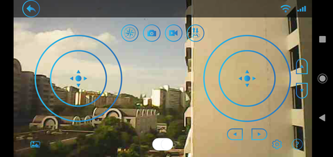View of control hub on mobile device application for DIY cardboard drone