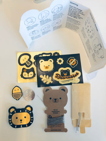 Cute bear woodlands theme electronics and stickers on a white background