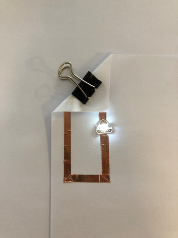 working circuit with lit LED using components from Chibitronics Stem Starter Kit