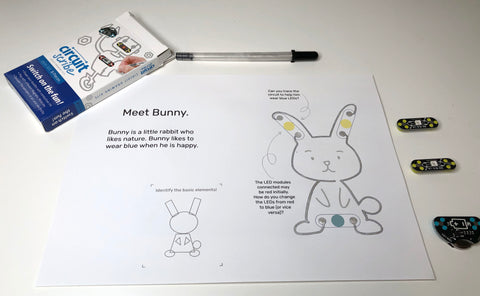 Circuit Scribe Mini Kit with Tinkercademy Circuit Scribe Bunny Booklet - coloured in with conductive ink with GetHacking Online