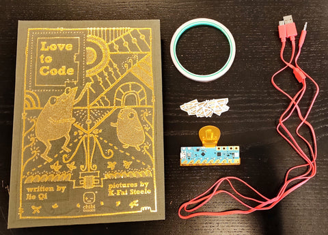 "Layout of components from Chibitronics ""Love To Code"" Creative Coding Kit on GetHacking Online Store"