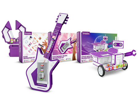 A collection of bright colourful boxes with different magnetic electronic components designs. Includes a cardboard guitar, robot and claw pincher for kids