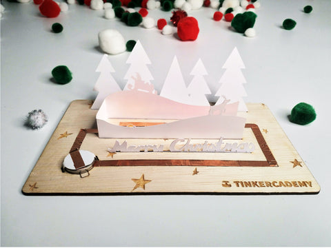 Tinkercademy's Evergreeting Diorama Kit Christmas Greeting Card; Paper craft with Chibitronic LEDs and copper tape.