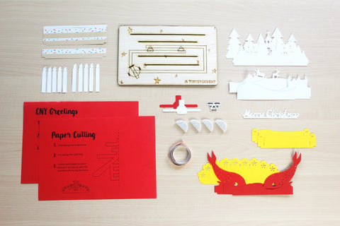 Overview of Tinkercademy's Evergreeting Diorama Kit Chinese New Year Greeting Card; Paper craft with Chibitronic LEDs and copper tape.