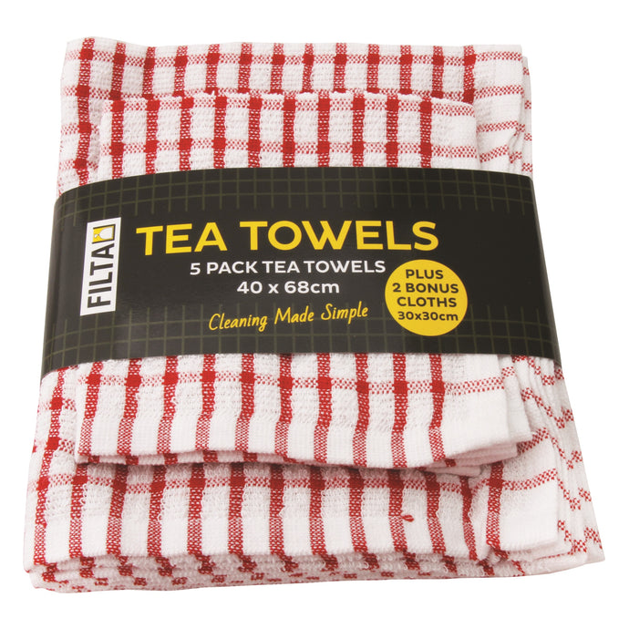 FILTA COTTON TEA TOWELS X 5 (40CM X 68CM) + 2 DISH CLOTHS (30CM X 30CM) RED 7PK