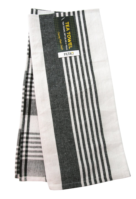 FILTA COTTON TEA TOWEL ROYAL BLACK 2 PACK (45CM X 70CM)
