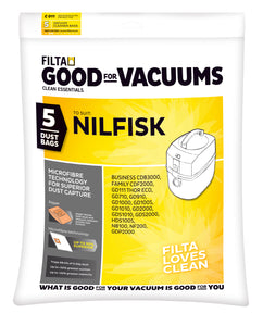 FILTA NILFISK GD/ VP 300, 600 SERIES MICROFIBRE VACUUM CLEANER BAGS 5 Pack - Sold by Single Unit in multiples of 1 Single Unit (C011)
