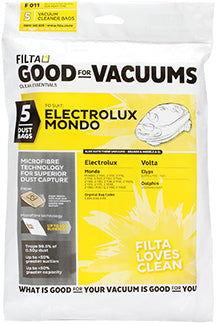 FILTA ELECTROLUX MONDO MICROFIBRE VACUUM CLEANER BAGS 5 Pack - Sold by Single Unit in multiples of 1 Single Unit (F011)