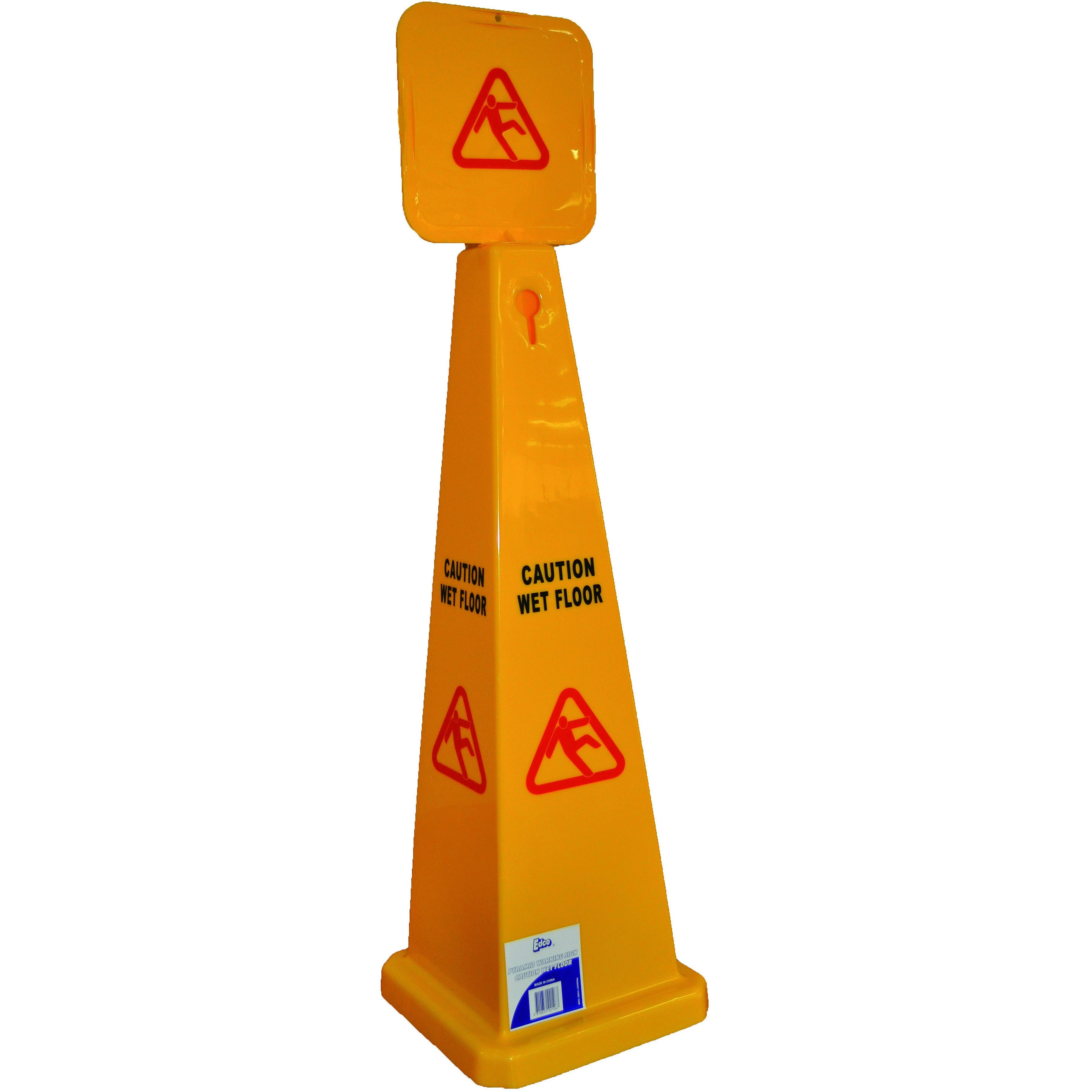 EDCO PYRAMID CAUTION WET FLOOR SIGN YELLOW 900MM