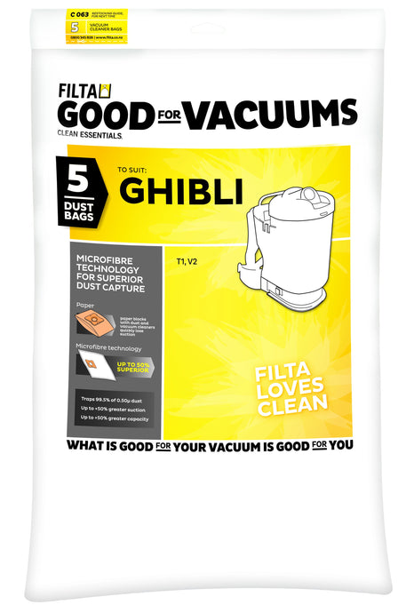 FILTA GHIBLI T1 BACKPACK MICROFIBRE VACUUM CLEANER BAGS 5 PACK (C063)