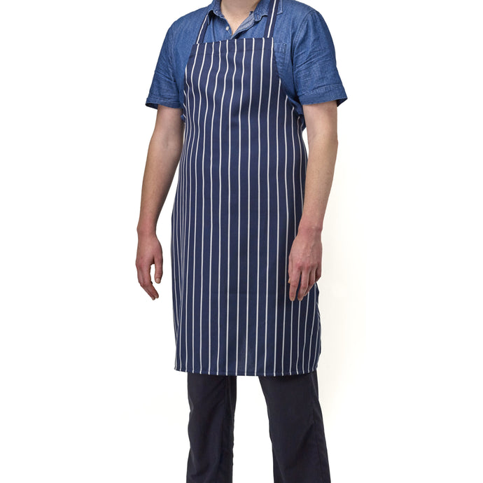 FILTA BUTCHER BIB APRON NAVY STRIPED