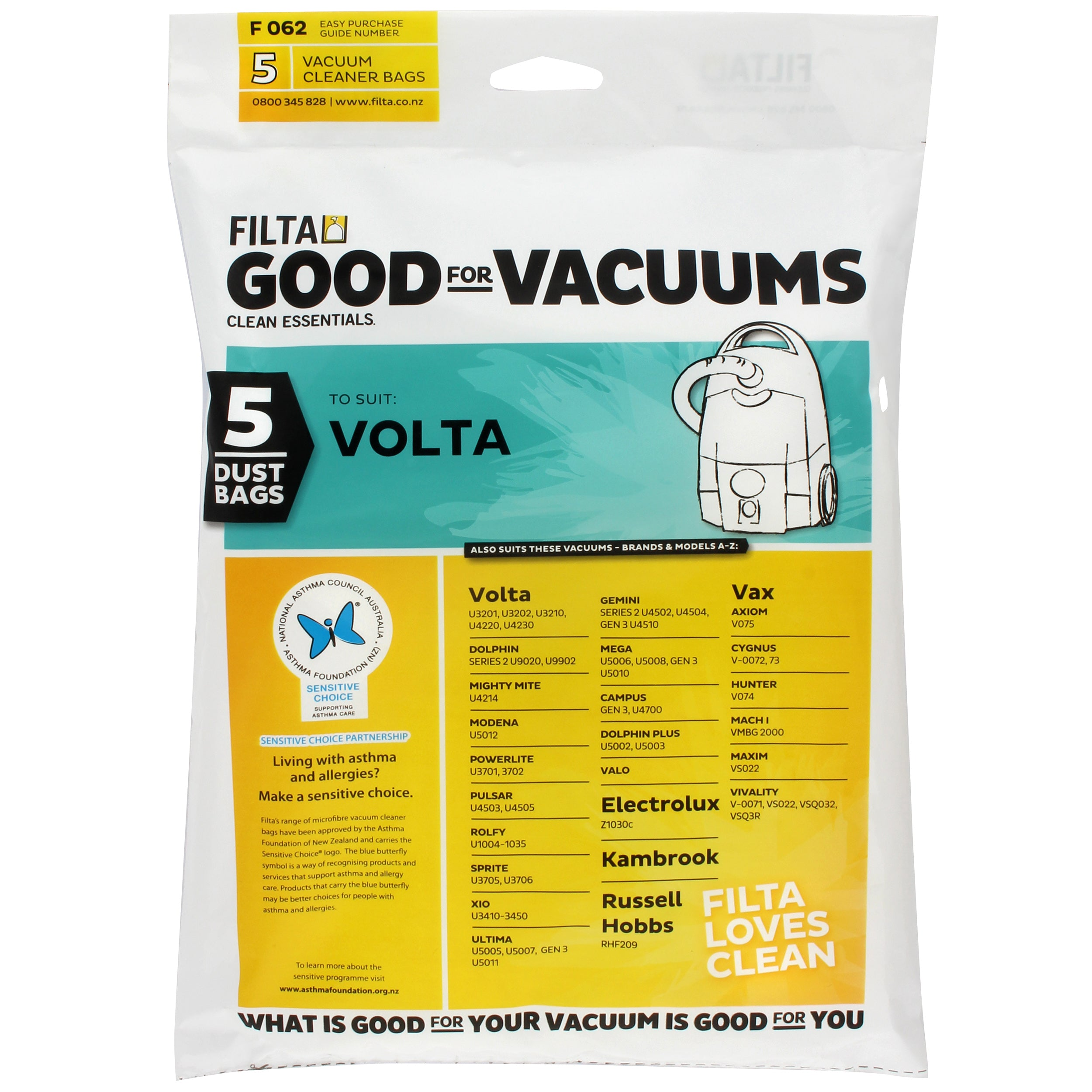 FILTA VOLTA MICROFIBRE VACUUM CLEANER BAGS 5 Pack - Sold by Single Unit in multiples of 1 Single Unit (F062)