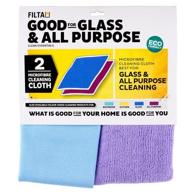 FILTA MICROFIBRE CLOTH MULTIPACK - GLASS & ALL PURPOSE Purple/Aqua 2 Pack - Sold by Pack in multiples of 1 Pack