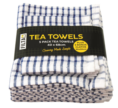 FILTA COTTON TEA TOWELS X 5 (40CM X 68CM) + 2 DISH CLOTHS (30CM X 30CM) BLUE 7PK