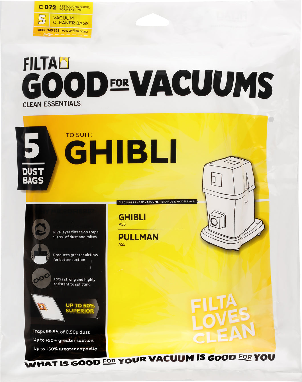 FILTA GHIBLI AS5 MICROFIBRE VACUUM CLEANER BAGS 5 PACK