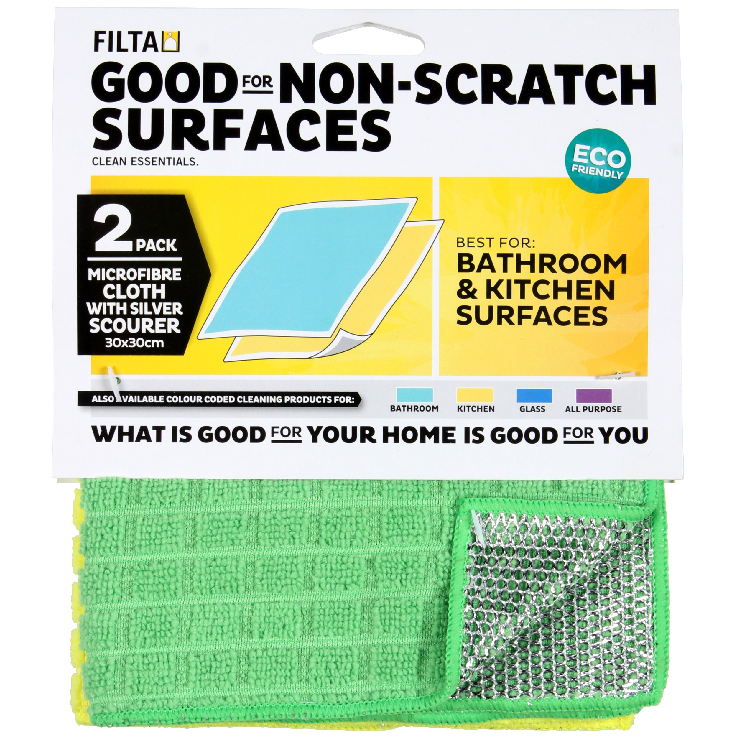 FILTA SILVER SCOURER WITH YELLOW AND GREEN MICROFIBRE CLOTH Yellow/Green 2 Pack - Sold by Pack in multiples of 1 Pack