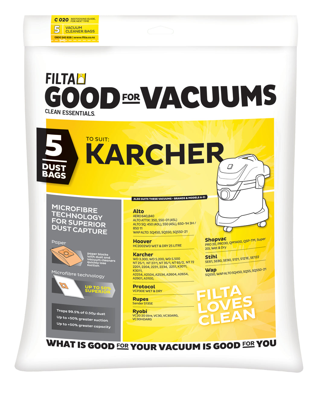 FILTA KARCHER /STIHL MICROFIBRE VACUUM CLEANER BAGS 5 Pack - Sold by Single Unit in multiples of 1 Single Unit (C020)