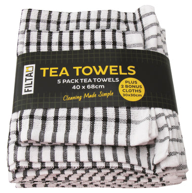 FILTA COTTON TEA TOWELS X 5 (40CM X 68CM) + 2 DISH CLOTHS (30CM X 30CM) BLACK 7PK