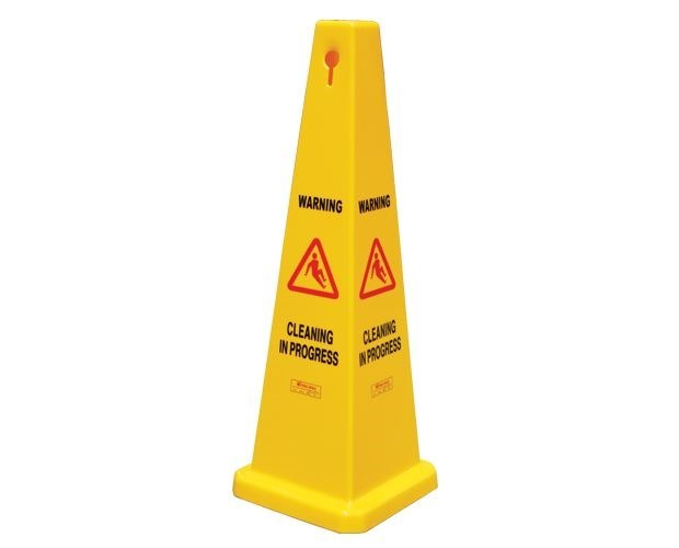 "GALA SAFETY CONE - ""CLEANING IN PROGRESS"" YELLOW 900MM"