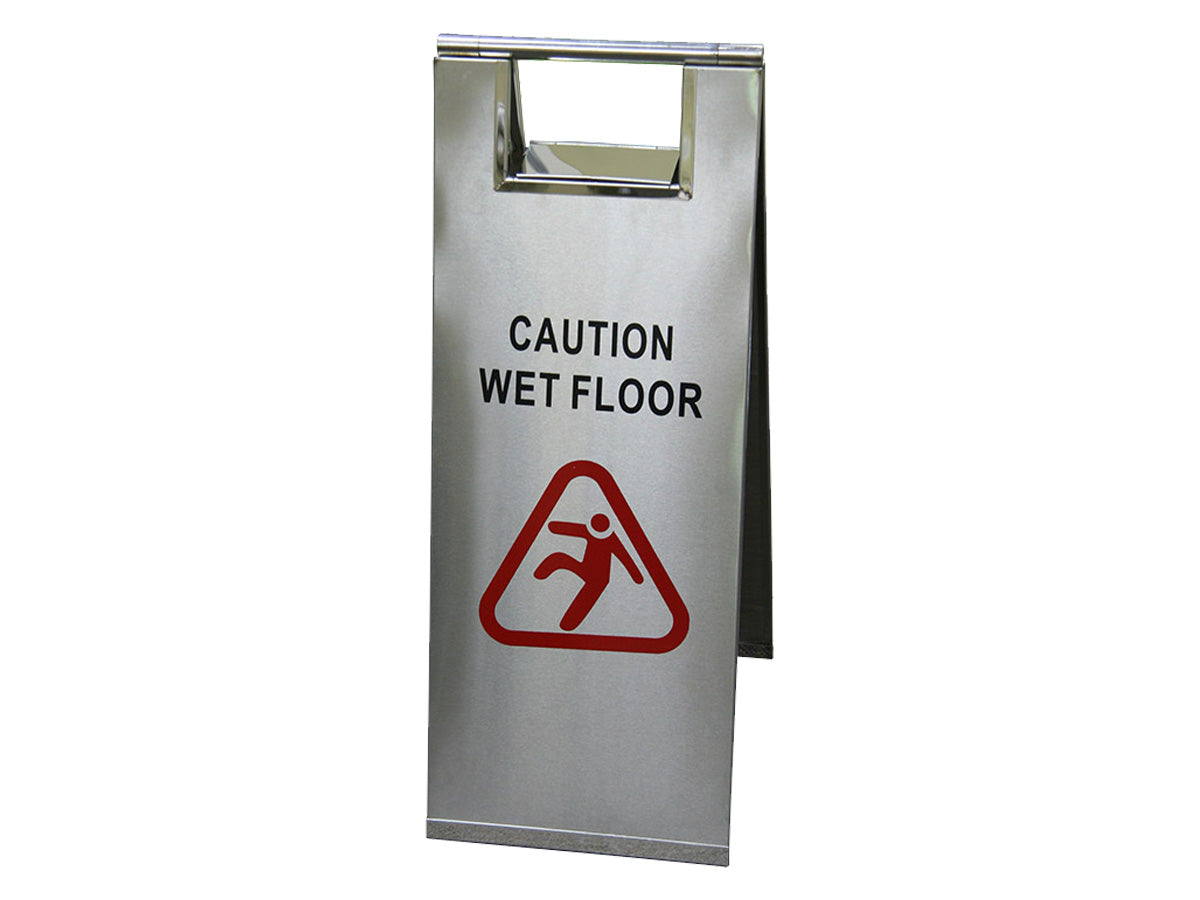 "FILTA A-FRAME SAFETY SIGN - STAINLESS STEEL - ""WET FLOOR"""
