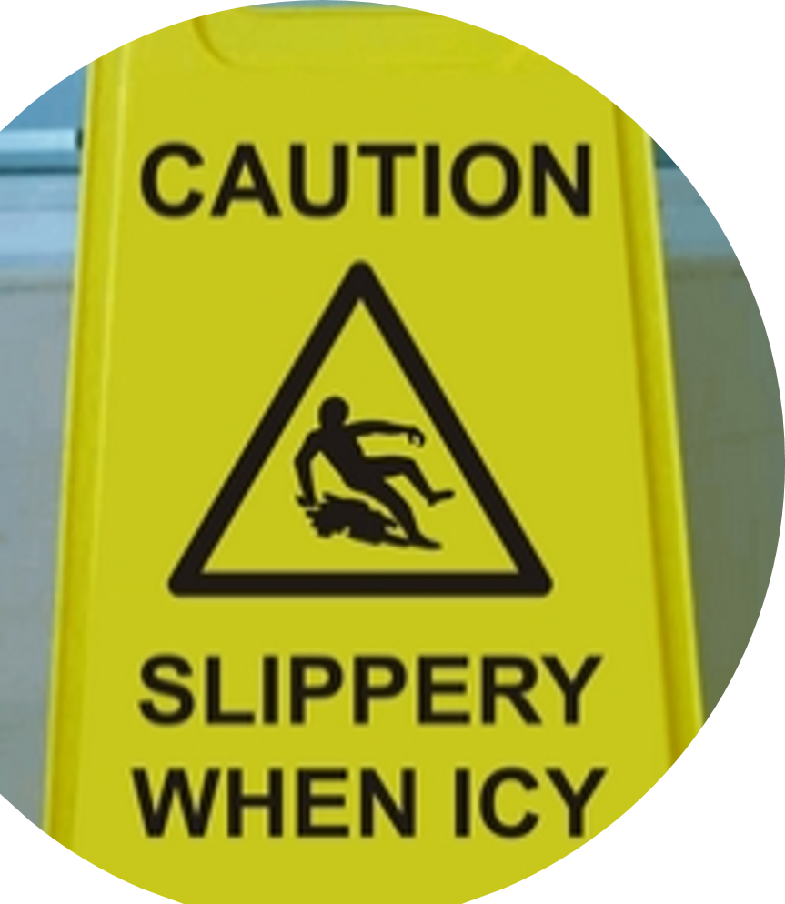 "GALA A-FRAME SAFETY SIGN - ""SLIPPERY WHEN ICY"" YELLOW"