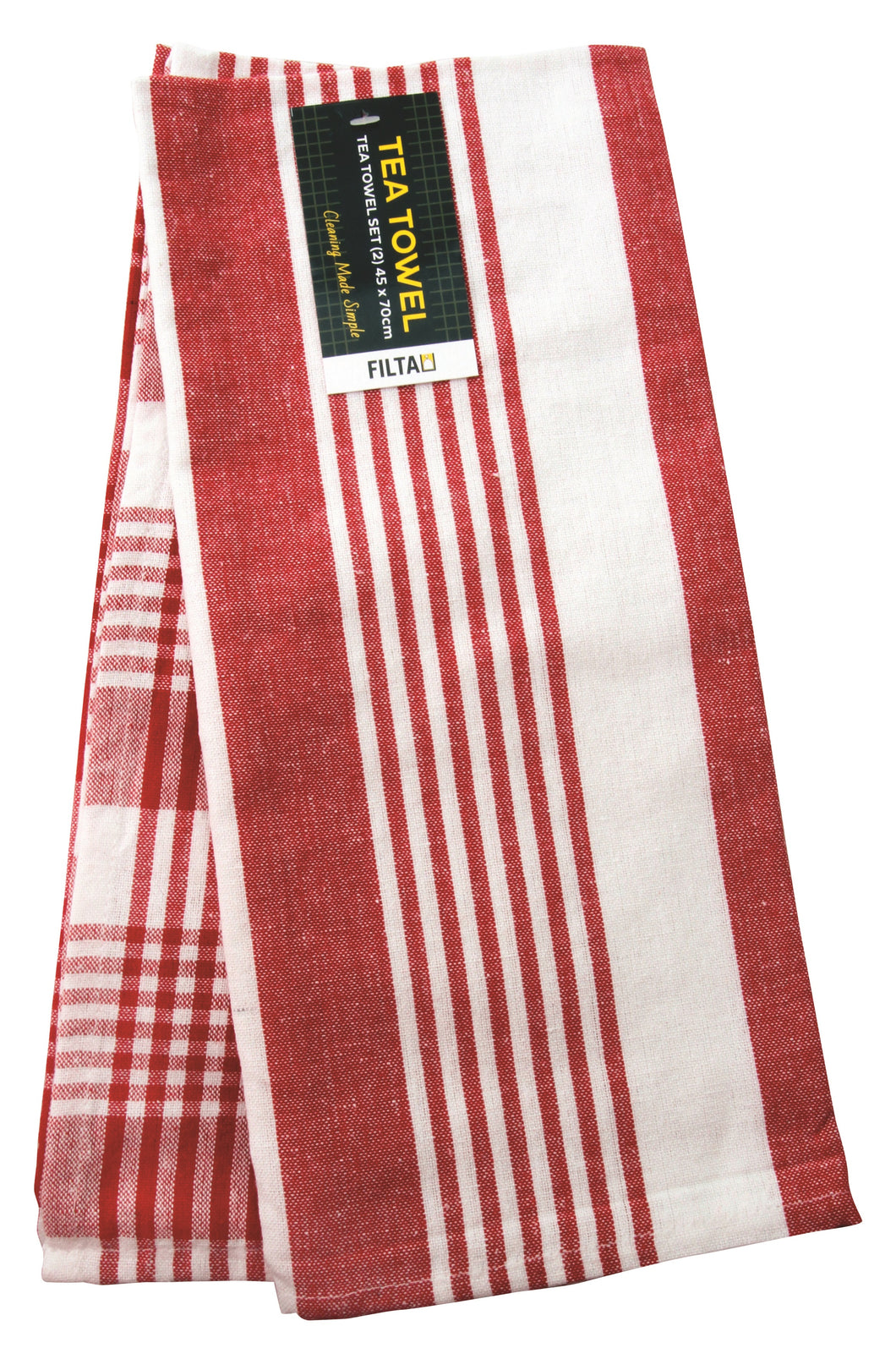 FILTA COTTON TEA TOWEL ROYAL RED 2 PACK (45CM X 70CM)