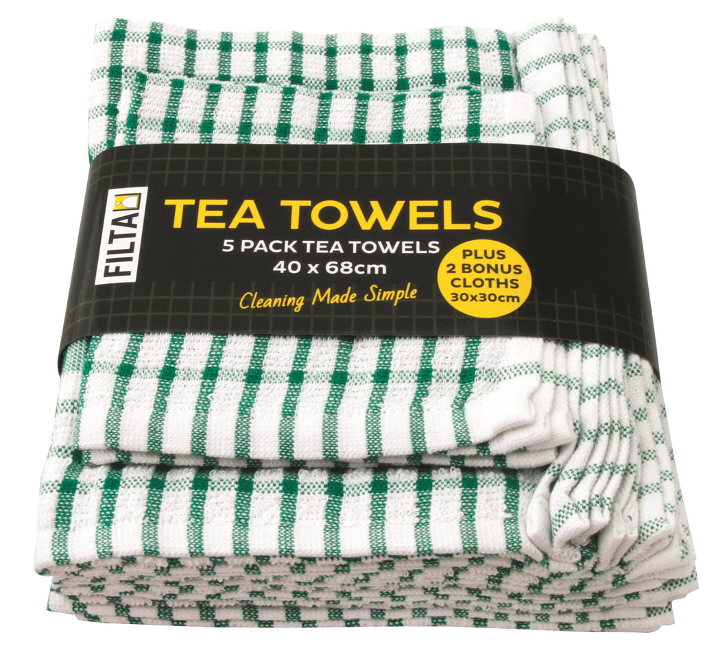 FILTA COTTON TEA TOWELS X 5 (40CM X 68CM) + 2 DISH CLOTHS (30CM X 30CM) GREEN 7PK