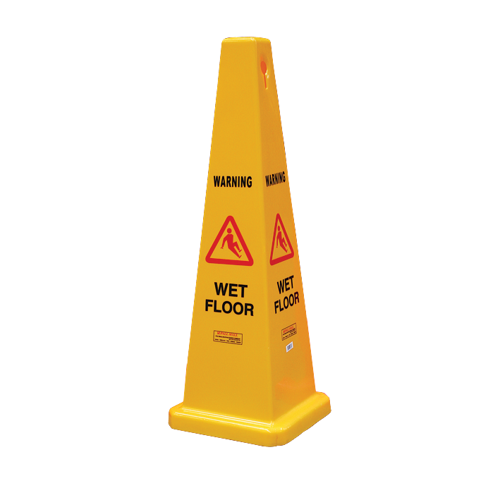 "GALA SAFETY CONE - ""WET FLOOR"" YELLOW 900MM"